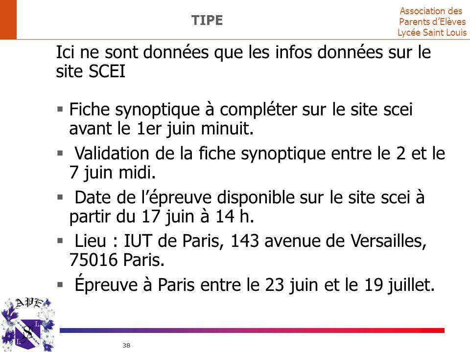 Association des Parents d'Elèves Lycée Saint Louis 38 TIPE Ici ne sont données que les infos données sur le site SCEI  Fiche synoptique à compléter s