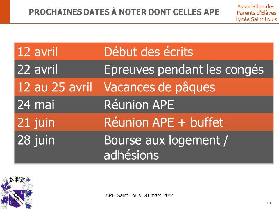 Association des Parents d'Elèves Lycée Saint Louis PROCHAINES DATES À NOTER DONT CELLES APE 40 APE Saint-Louis 29 mars 2014