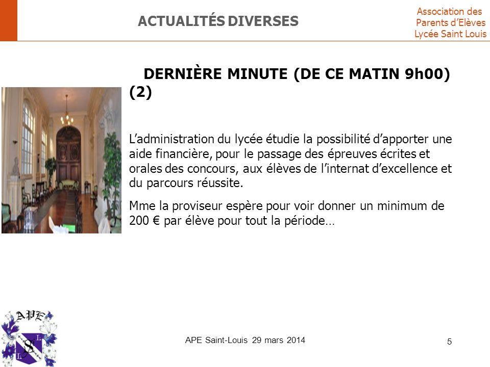 Association des Parents d'Elèves Lycée Saint Louis APE Saint-Louis 29 mars 2014 16 REJOIGNEZ L'ÉQUIPE APE .