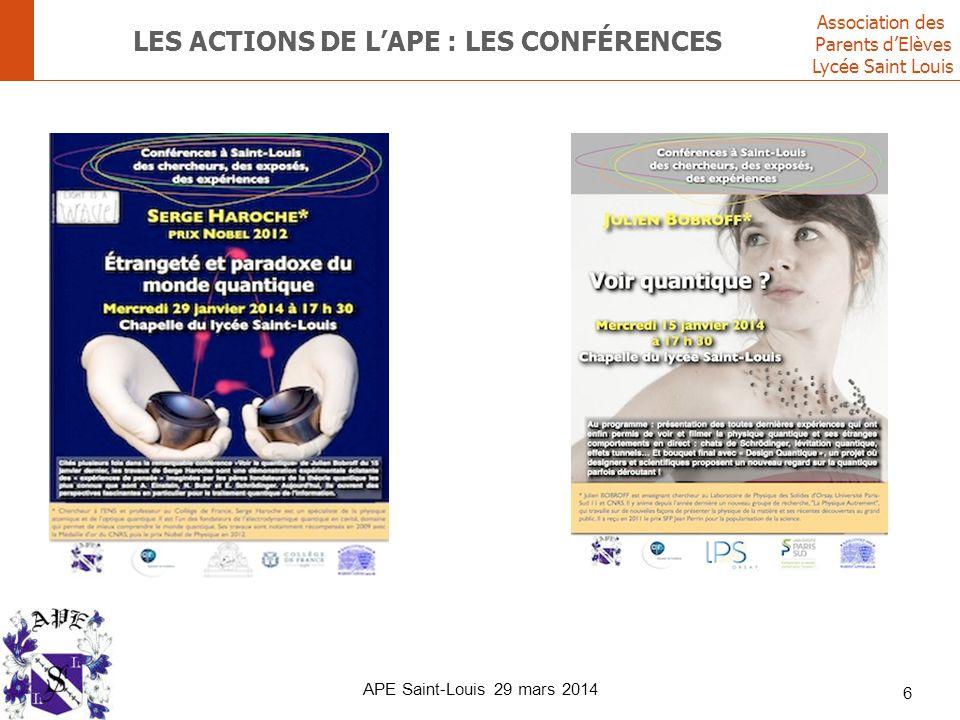 Association des Parents d'Elèves Lycée Saint Louis LES ACTIONS DE L'APE : LES CONFÉRENCES 6 APE Saint-Louis 29 mars 2014