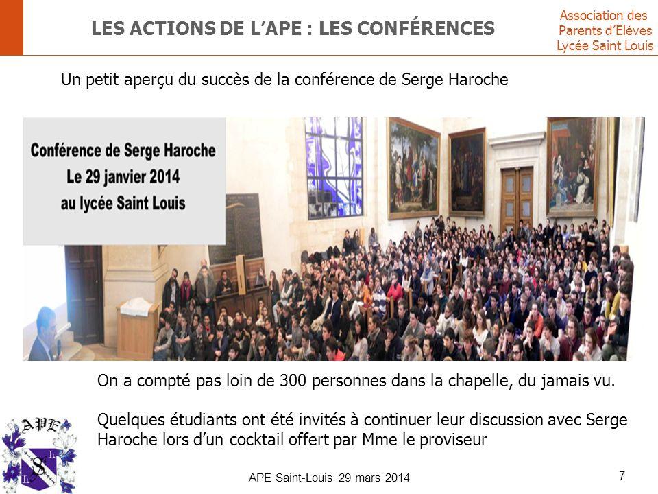 Association des Parents d'Elèves Lycée Saint Louis LES ACTIONS DE L'APE : LES CONFÉRENCES 7 APE Saint-Louis 29 mars 2014 Un petit aperçu du succès de