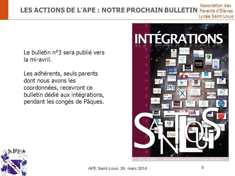 Association des Parents d'Elèves Lycée Saint Louis APE Saint-Louis 29 mars 2014 8 LES ACTIONS DE L'APE : NOTRE PROCHAIN BULLETIN Le bulletin n°3 sera