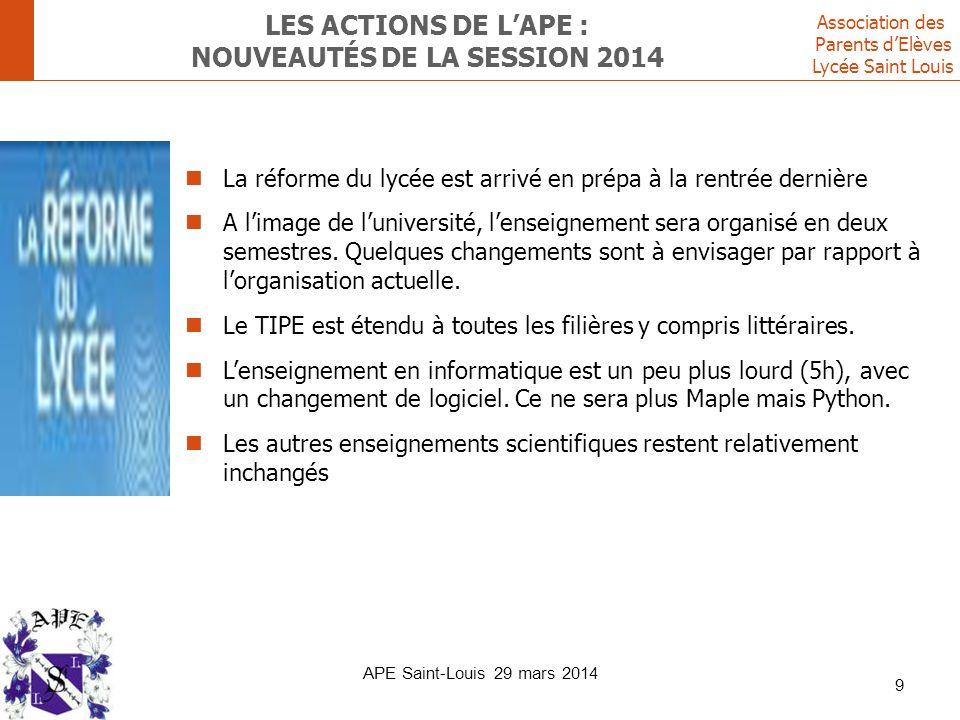 Association des Parents d'Elèves Lycée Saint Louis LES ACTIONS DE L'APE : NOUVEAUTÉS DE LA SESSION 2014 La réforme du lycée est arrivé en prépa à la r
