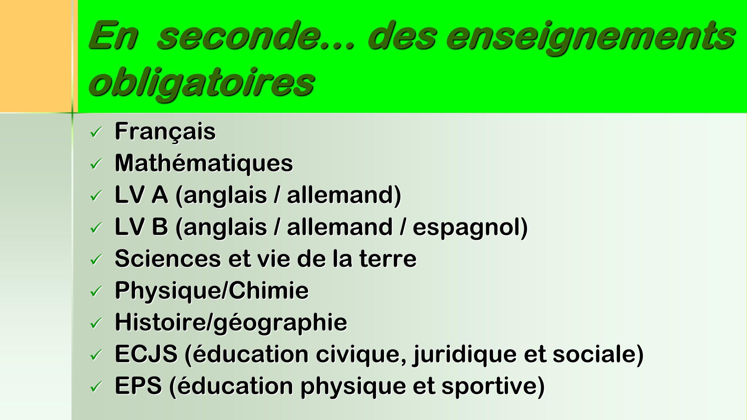 En seconde… des enseignements obligatoires Français Français Mathématiques Mathématiques LV A (anglais / allemand) LV A (anglais / allemand) LV B (ang