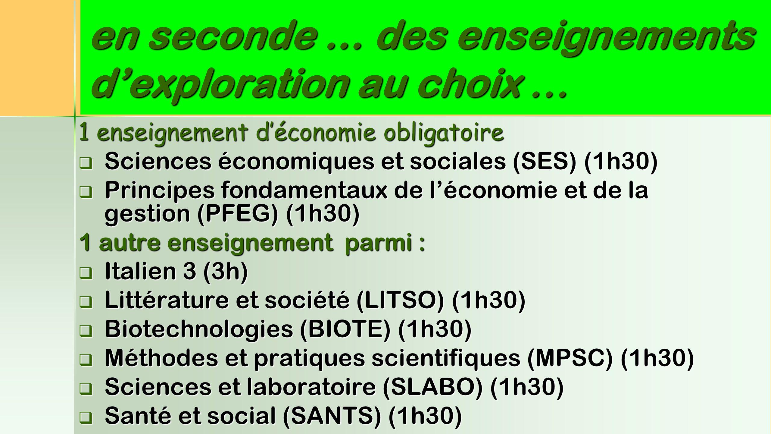 en seconde … des enseignements d'exploration au choix … 1 enseignement d'économie obligatoire SSSSciences économiques et sociales (SES) (1h30) P