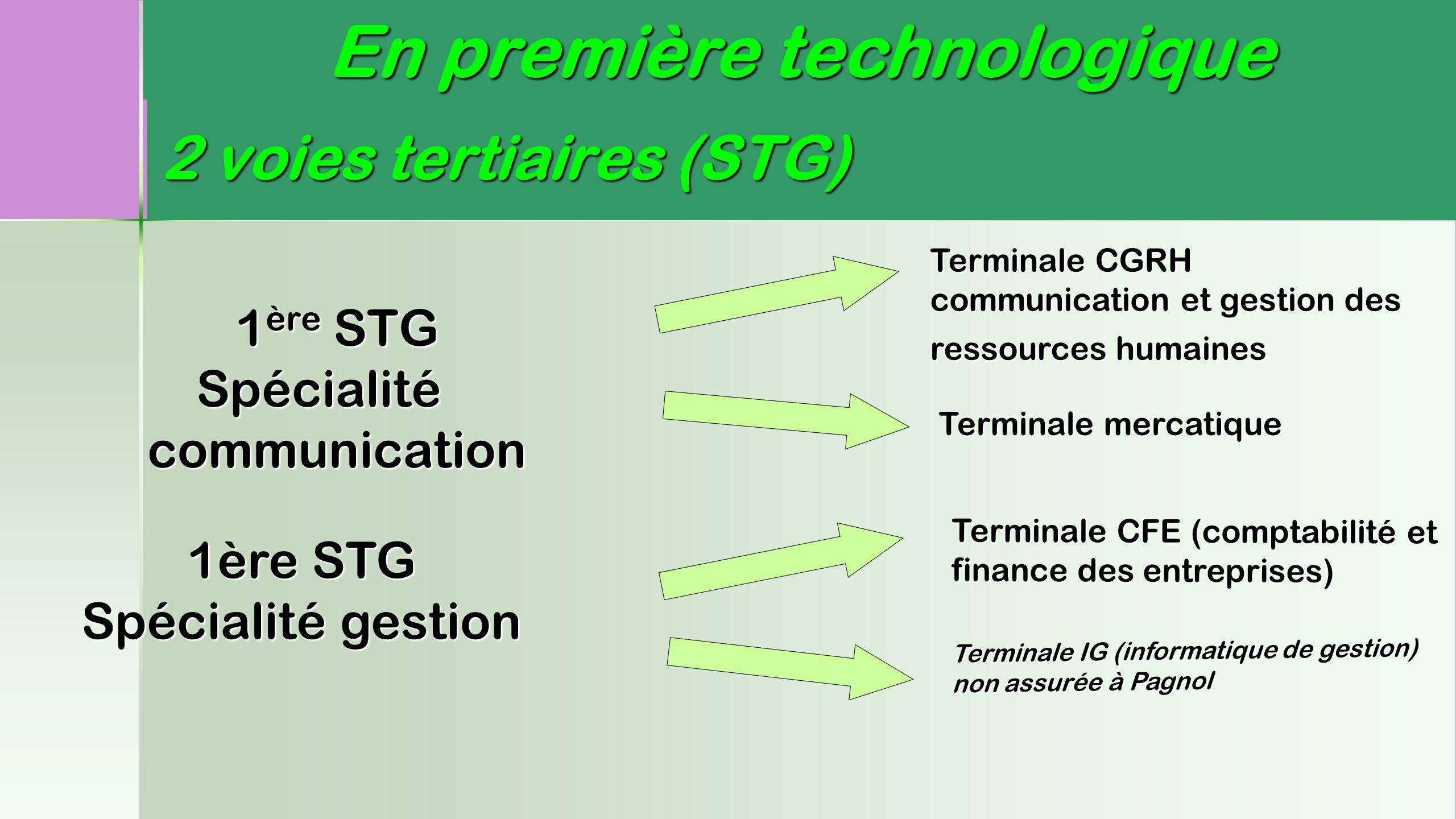 2 voies tertiaires (STG) 1 ère STG Spécialité communication Spécialité communication Terminale CGRH communication et gestion des ressources humaines T