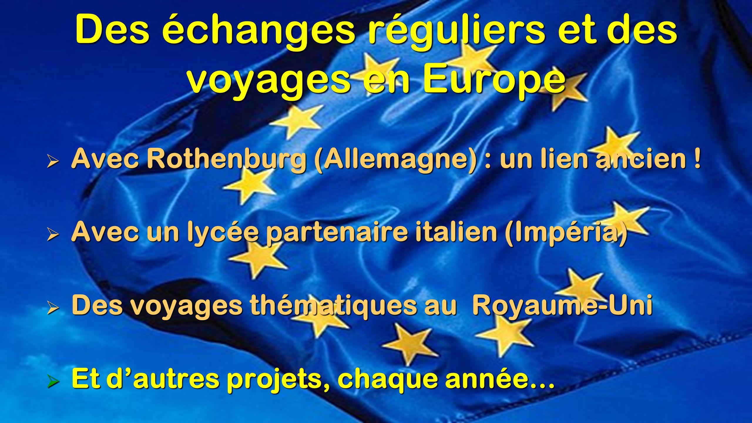 Des échanges réguliers et des voyages en Europe  Avec Rothenburg (Allemagne) : un lien ancien !  Avec un lycée partenaire italien (Impéria)  Des vo