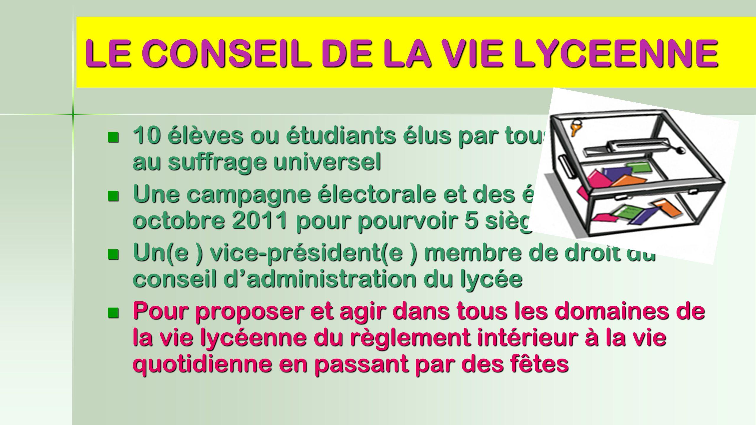 LE CONSEIL DE LA VIE LYCEENNE 10 élèves ou étudiants élus par tous les lycéens au suffrage universel Une campagne électorale et des élections en octob