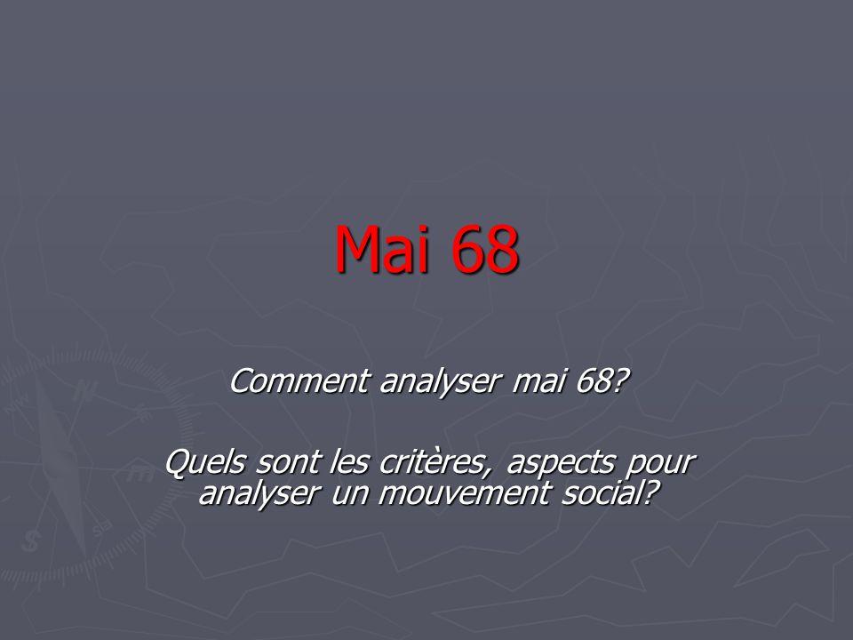 Mai 68 Comment analyser mai 68? Quels sont les critères, aspects pour analyser un mouvement social?