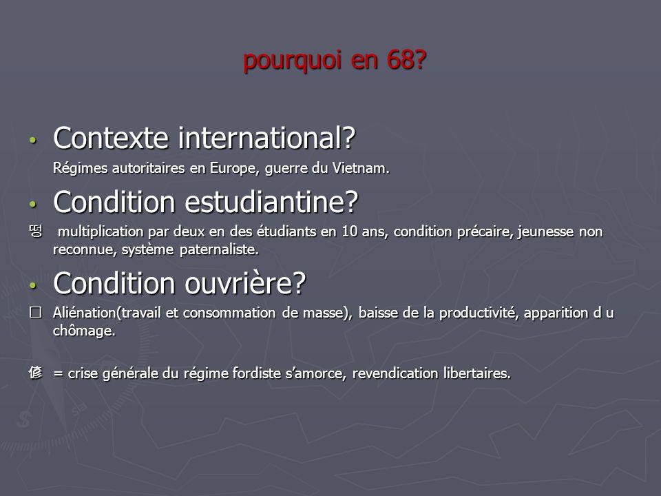pourquoi en 68? pourquoi en 68? Contexte international? Contexte international? Régimes autoritaires en Europe, guerre du Vietnam. Régimes autoritaire