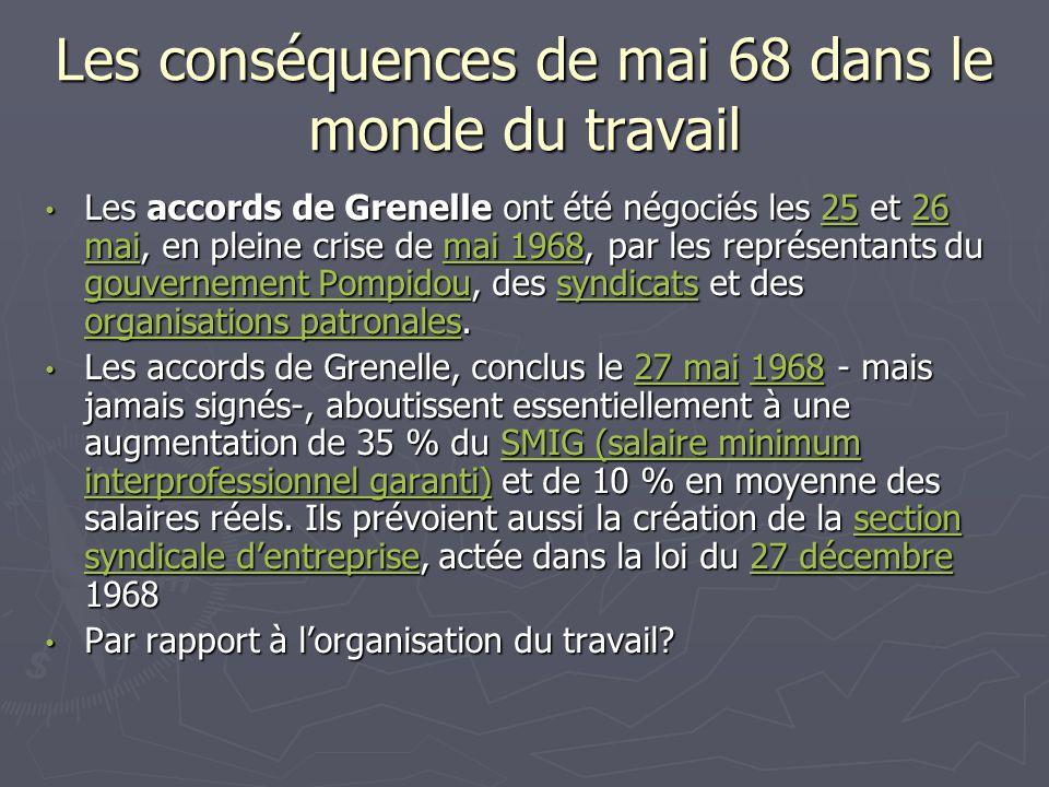 Les conséquences de mai 68 dans le monde du travail Les accords de Grenelle ont été négociés les 25 et 26 mai, en pleine crise de mai 1968, par les re