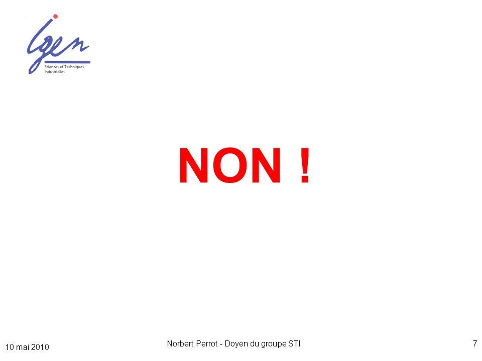 10 mai 2010 Norbert Perrot - Doyen du groupe STI7 SI = ISI CIT = ISIP NON !