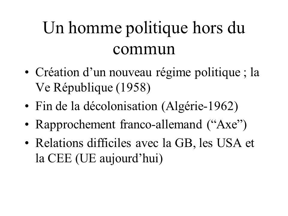 Un homme politique hors du commun Création d'un nouveau régime politique ; la Ve République (1958) Fin de la décolonisation (Algérie-1962) Rapprochement franco-allemand ( Axe ) Relations difficiles avec la GB, les USA et la CEE (UE aujourd'hui)