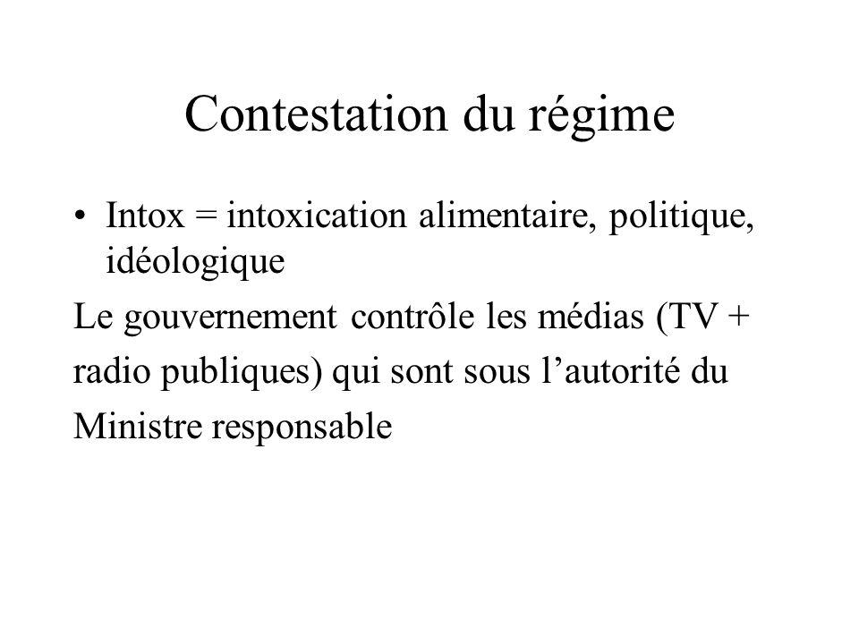 Contestation du régime Intox = intoxication alimentaire, politique, idéologique Le gouvernement contrôle les médias (TV + radio publiques) qui sont sous l'autorité du Ministre responsable