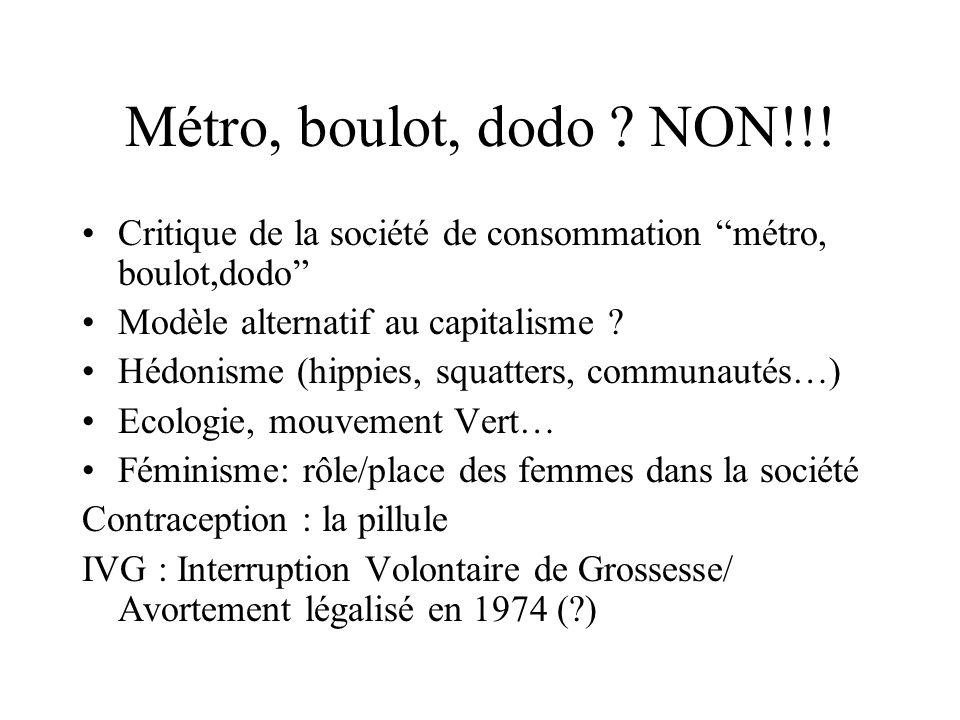 """Métro, boulot, dodo ? NON!!! Critique de la société de consommation """"métro, boulot,dodo"""" Modèle alternatif au capitalisme ? Hédonisme (hippies, squatt"""