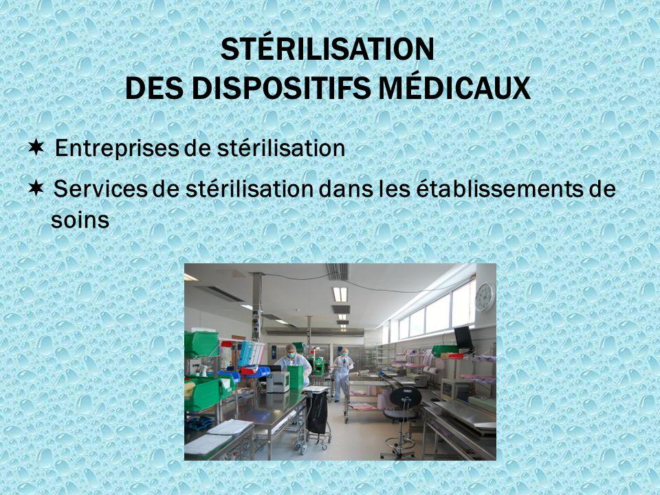  Entreprises de stérilisation STÉRILISATION DES DISPOSITIFS MÉDICAUX  Services de stérilisation dans les établissements de soins