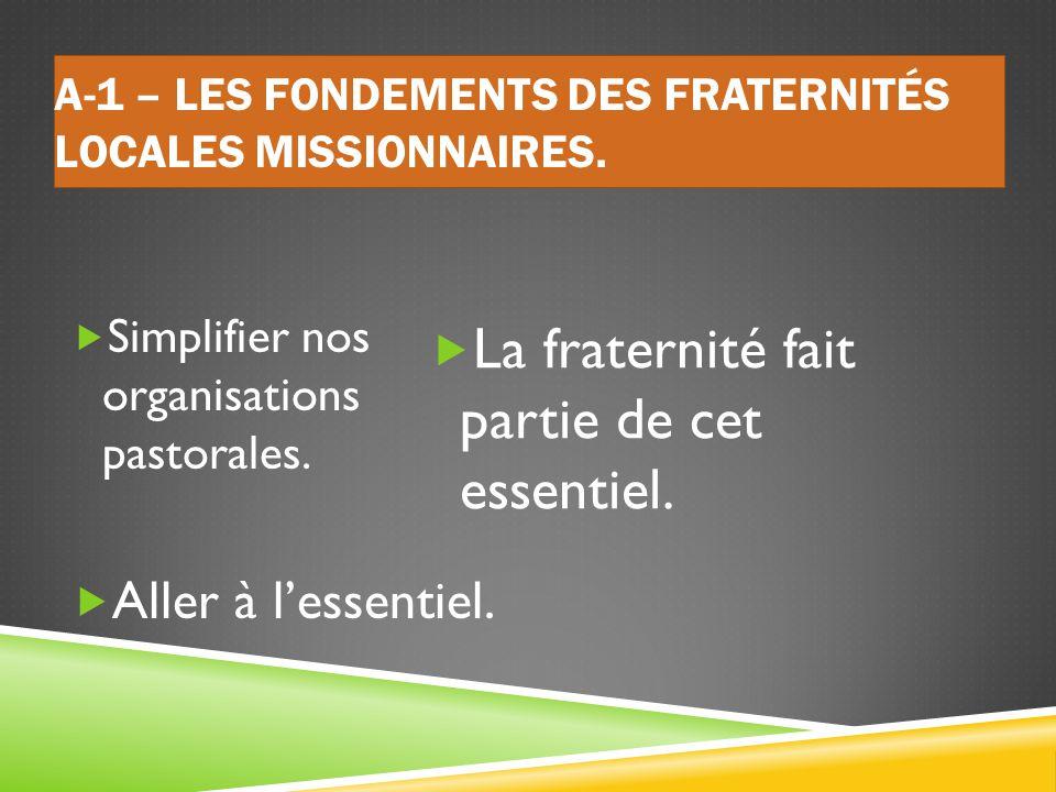 Les fondements des Fraternités Locales Missionnaires.