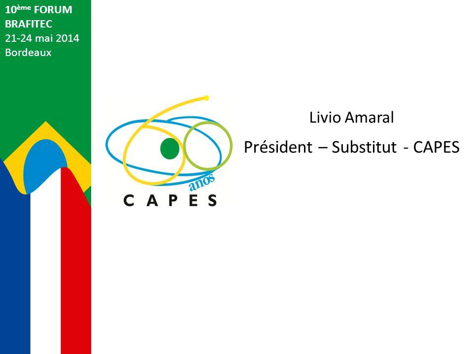 Livio Amaral Président – Substitut - CAPES 10 ème FORUM BRAFITEC 21-24 mai 2014 Bordeaux