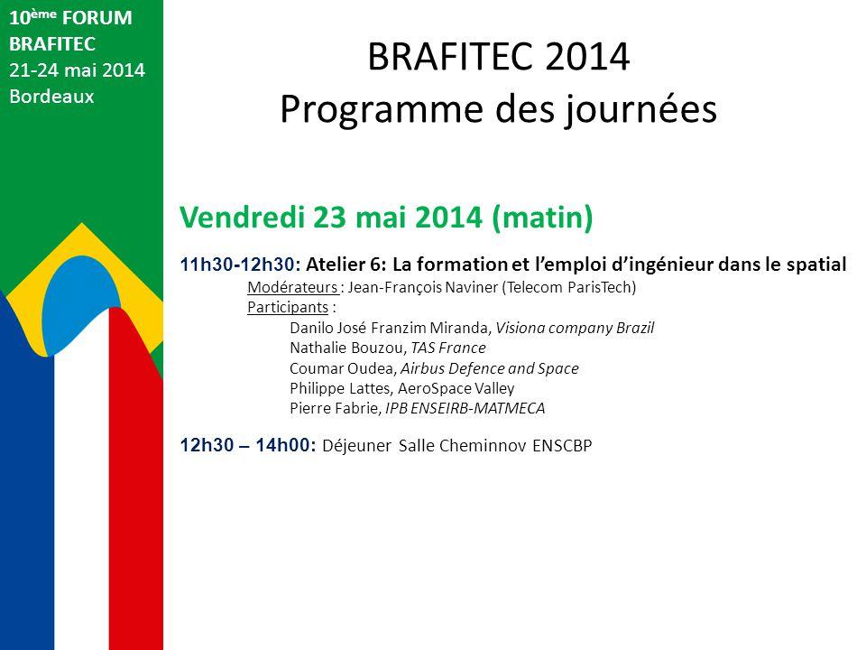 10 ème FORUM BRAFITEC 21-24 mai 2014 Bordeaux Vendredi 23 mai 2014 (matin) 11h30-12h30: Atelier 6: La formation et l'emploi d'ingénieur dans le spatia