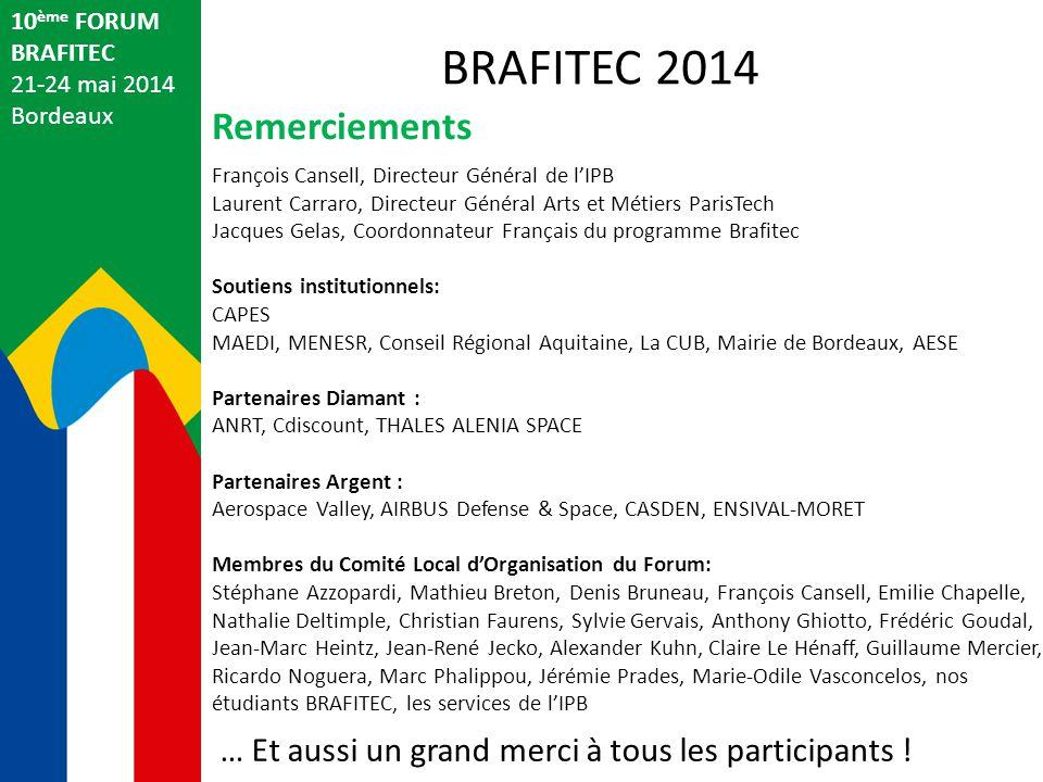 10 ème FORUM BRAFITEC 21-24 mai 2014 Bordeaux Remerciements BRAFITEC 2014 François Cansell, Directeur Général de l'IPB Laurent Carraro, Directeur Géné