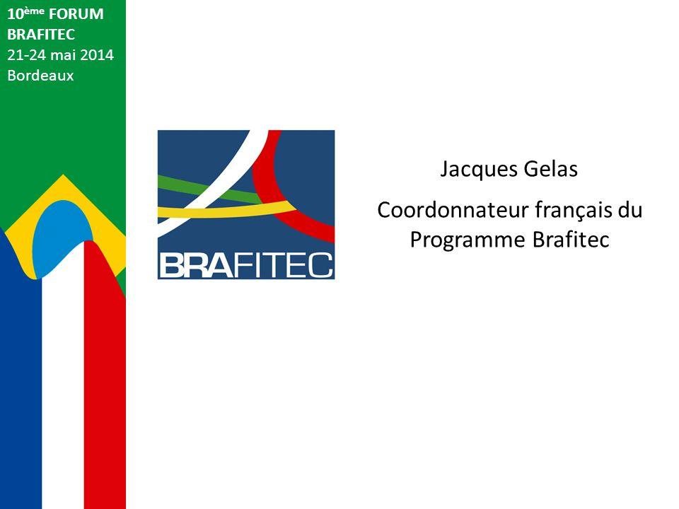 Eric Bourland Ministère des Affaires Etrangères et du Développement International Ambassade de France au Brésil 10 ème FORUM BRAFITEC 21-24 mai 2014 Bordeaux