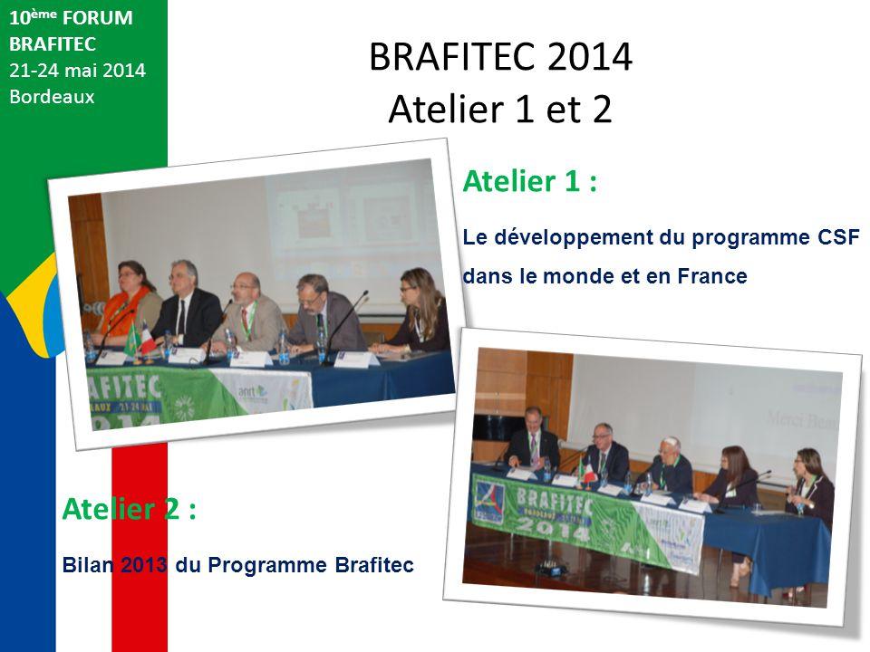 BRAFITEC 2014 Atelier 1 et 2 10 ème FORUM BRAFITEC 21-24 mai 2014 Bordeaux Atelier 1 : Le développement du programme CSF dans le monde et en France Atelier 2 : Bilan 2013 du Programme Brafitec