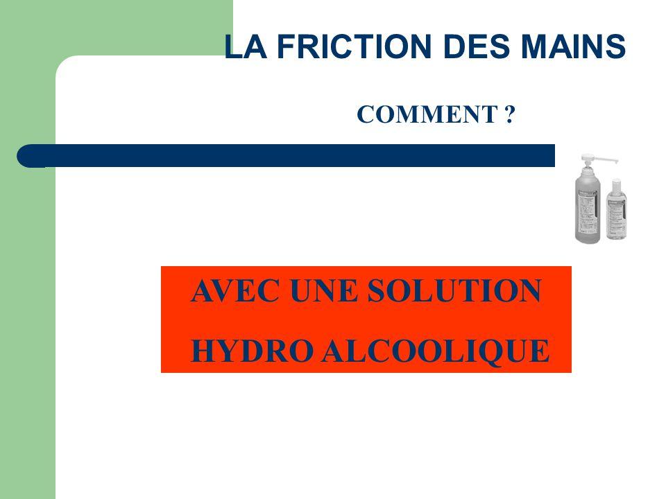 LA FRICTION DES MAINS COMMENT ? AVEC UNE SOLUTION HYDRO ALCOOLIQUE