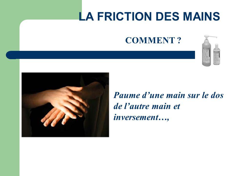 Paume d'une main sur le dos de l'autre main et inversement…, LA FRICTION DES MAINS COMMENT ?