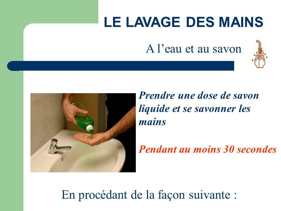LE LAVAGE DES MAINS Prendre une dose de savon liquide et se savonner les mains Pendant au moins 30 secondes En procédant de la façon suivante : A l'ea
