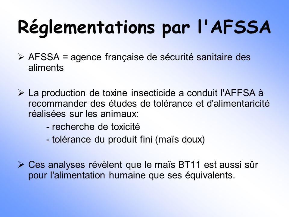Réglementations par l'AFSSA  AFSSA = agence française de sécurité sanitaire des aliments  La production de toxine insecticide a conduit l'AFFSA à re