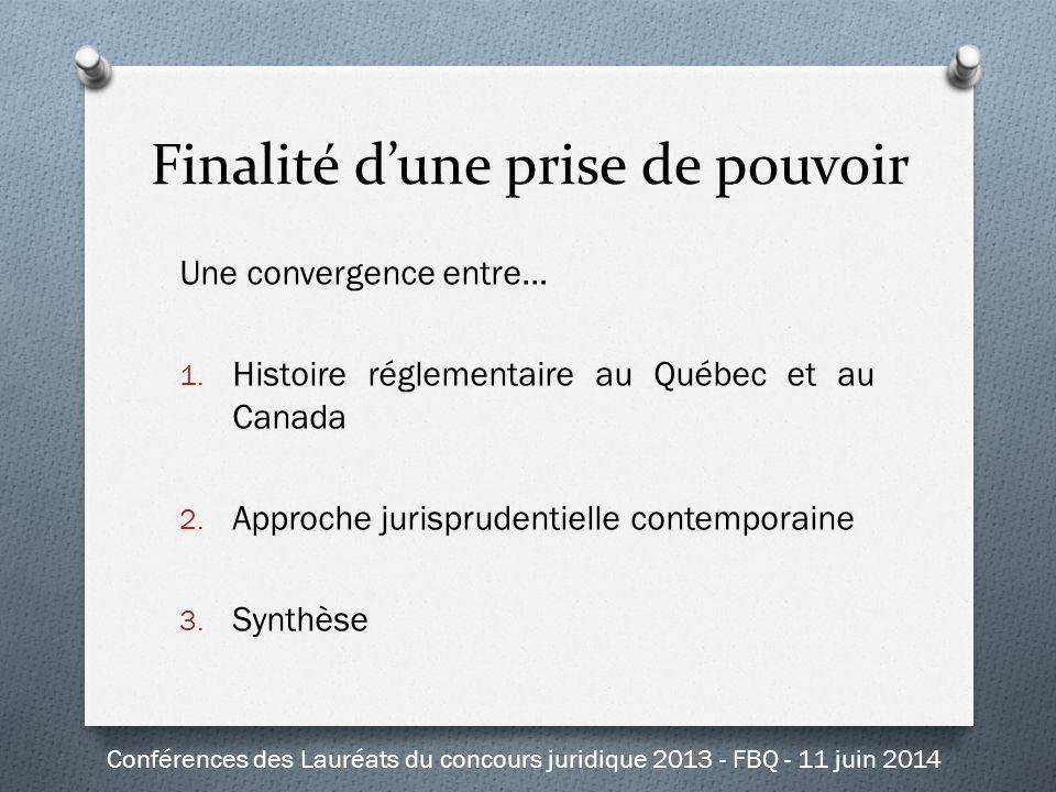 Finalité d'une prise de pouvoir Une convergence entre… 1. Histoire réglementaire au Québec et au Canada 2. Approche jurisprudentielle contemporaine 3.