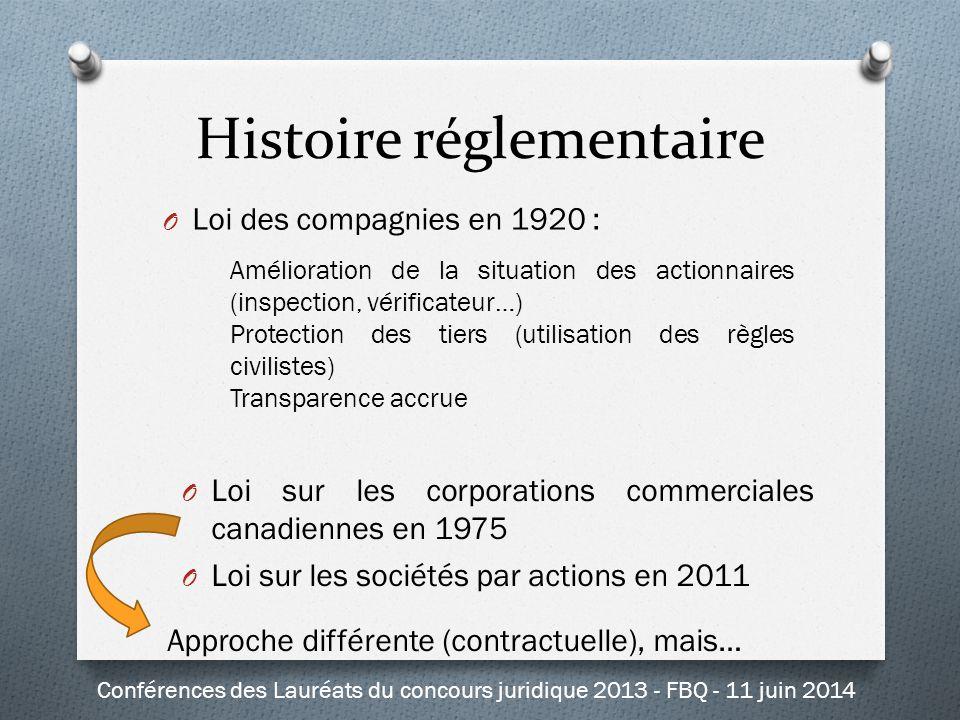 O Loi des compagnies en 1920 : Amélioration de la situation des actionnaires (inspection, vérificateur…) Protection des tiers (utilisation des règles