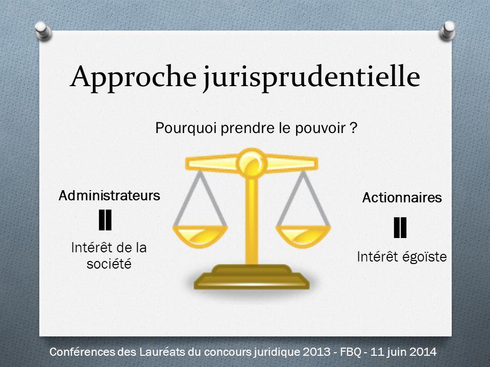 Approche jurisprudentielle Administrateurs Intérêt de la société Actionnaires Intérêt égoïste Pourquoi prendre le pouvoir ? Conférences des Lauréats d