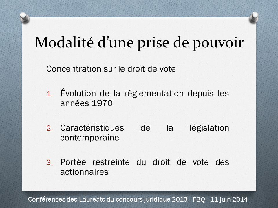 Modalité d'une prise de pouvoir Concentration sur le droit de vote 1. Évolution de la réglementation depuis les années 1970 2. Caractéristiques de la