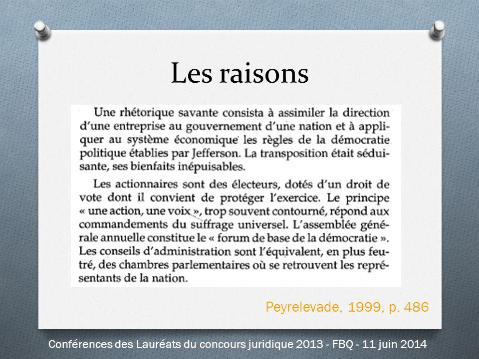 Peyrelevade, 1999, p. 486 Les raisons Conférences des Lauréats du concours juridique 2013 - FBQ - 11 juin 2014