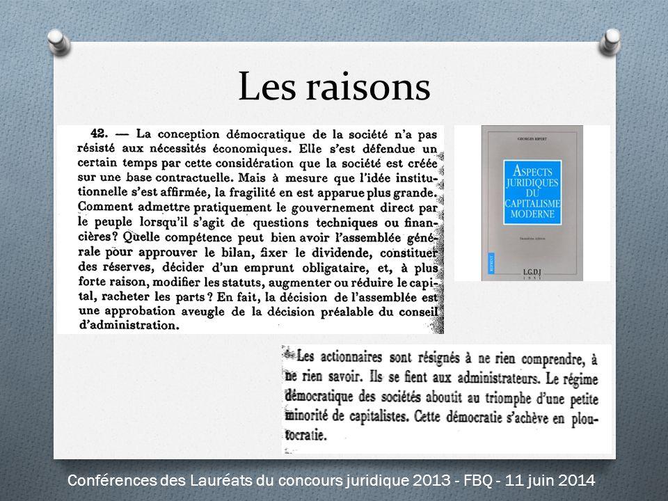 Les raisons Conférences des Lauréats du concours juridique 2013 - FBQ - 11 juin 2014