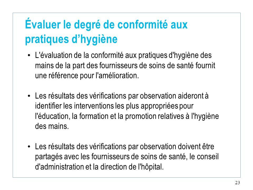 23 Évaluer le degré de conformité aux pratiques d'hygiène L évaluation de la conformité aux pratiques d hygiène des mains de la part des fournisseurs de soins de santé fournit une référence pour l amélioration.
