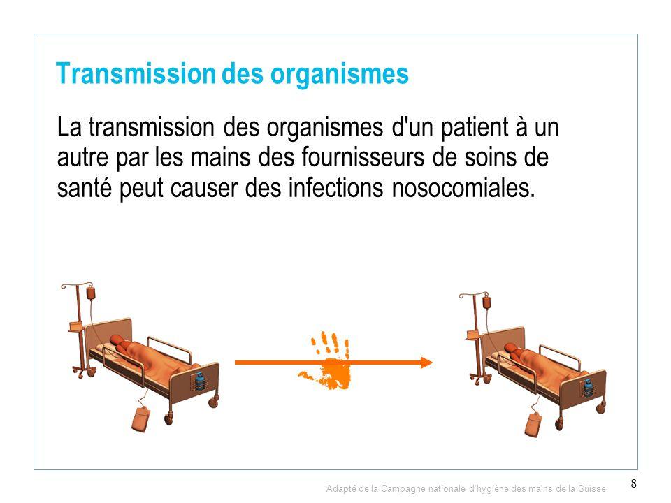 8 Transmission des organismes La transmission des organismes d un patient à un autre par les mains des fournisseurs de soins de santé peut causer des infections nosocomiales.
