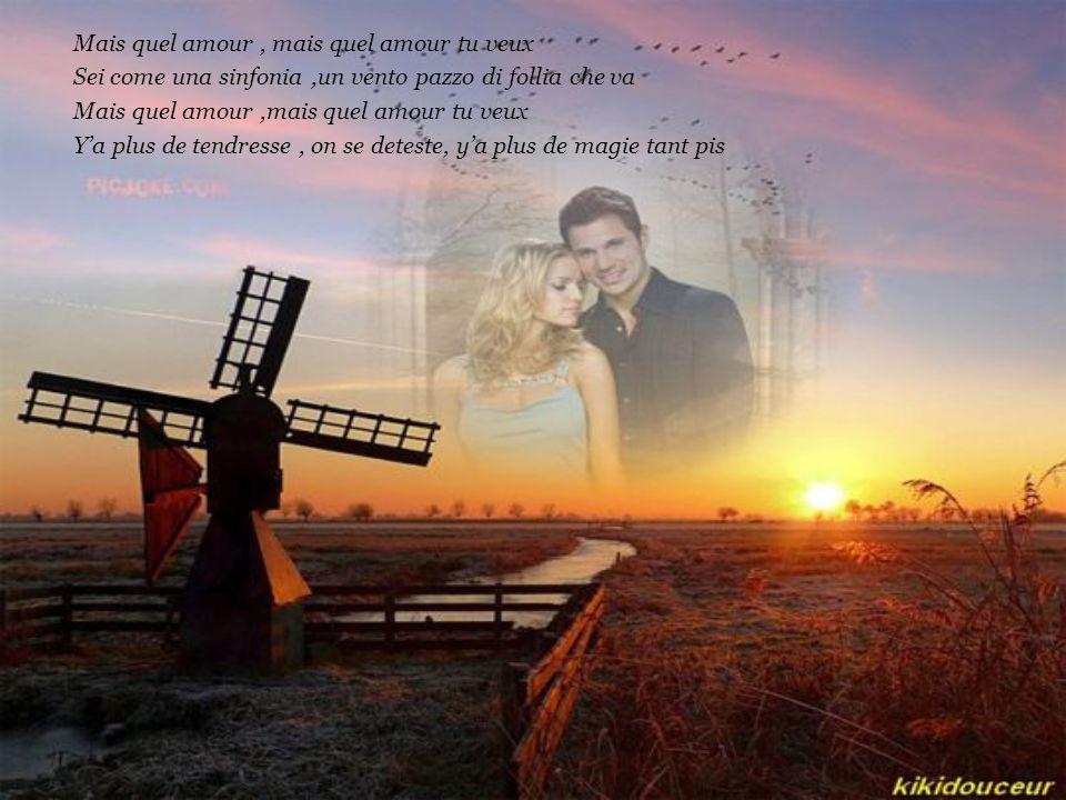 Mais toi et moi, quel amour, quelle histoire Mais toi et moi, je ne peux plus y croire Mais quel amour, mais quel amour tu veux On ne peut pas bâtir s