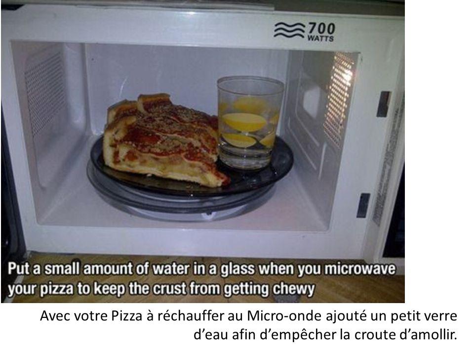 Avec votre Pizza à réchauffer au Micro-onde ajouté un petit verre d'eau afin d'empêcher la croute d'amollir.