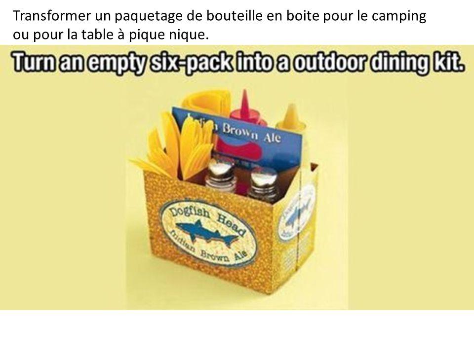 Transformer un paquetage de bouteille en boite pour le camping ou pour la table à pique nique.