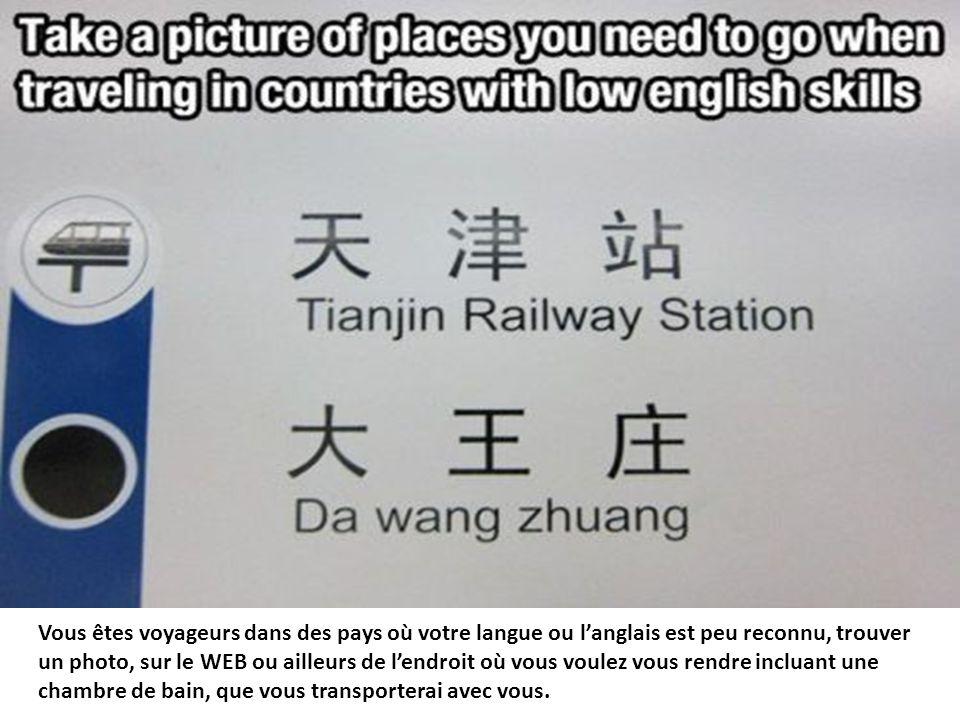 Vous êtes voyageurs dans des pays où votre langue ou l'anglais est peu reconnu, trouver un photo, sur le WEB ou ailleurs de l'endroit où vous voulez v