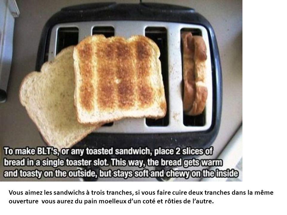 Vous aimez les sandwichs à trois tranches, si vous faire cuire deux tranches dans la même ouverture vous aurez du pain moelleux d'un coté et rôties de