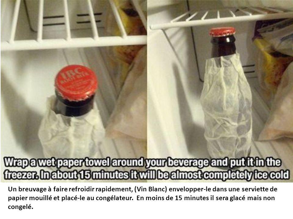 Un breuvage à faire refroidir rapidement, (Vin Blanc) envelopper-le dans une serviette de papier mouillé et placé-le au congélateur. En moins de 15 mi