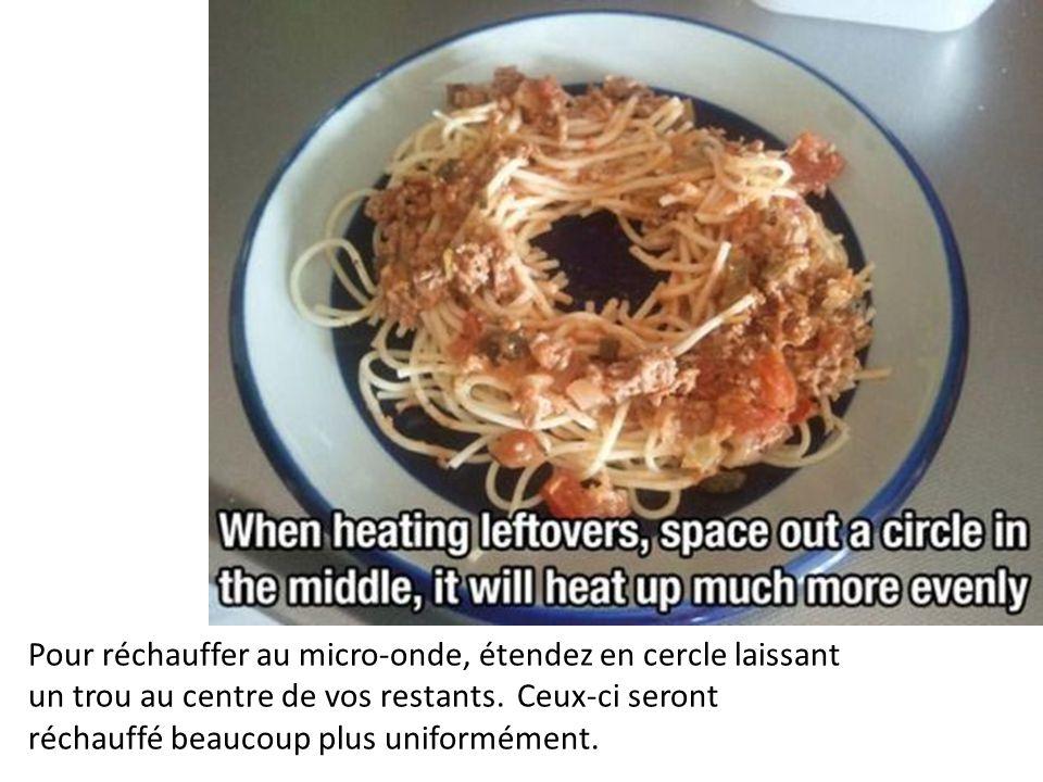 Pour réchauffer au micro-onde, étendez en cercle laissant un trou au centre de vos restants. Ceux-ci seront réchauffé beaucoup plus uniformément.