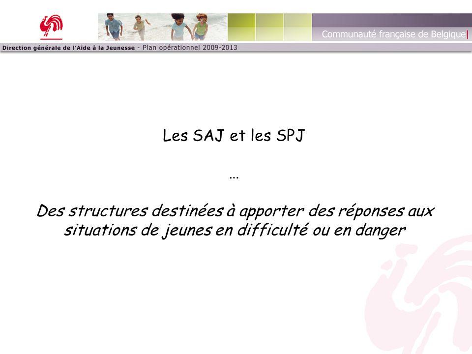 La place des SAJ et SPJ au sein de la structure de la DGAJ Services déconcentrés 13 arrondissements judiciaires ―> 13 SAJ et 13 SPJ SAJ : ~ Conseiller de l'aide à la jeunesse ~ Aide volontaire SPJ : ~ Directeur de l'aide à la jeunesse ~ Aide contrainte Indépendance (dans l'aide individuelle) Vs.