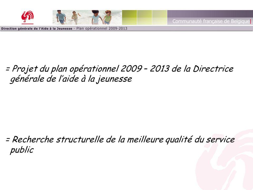 = Projet du plan opérationnel 2009 – 2013 de la Directrice générale de l'aide à la jeunesse = Recherche structurelle de la meilleure qualité du servic