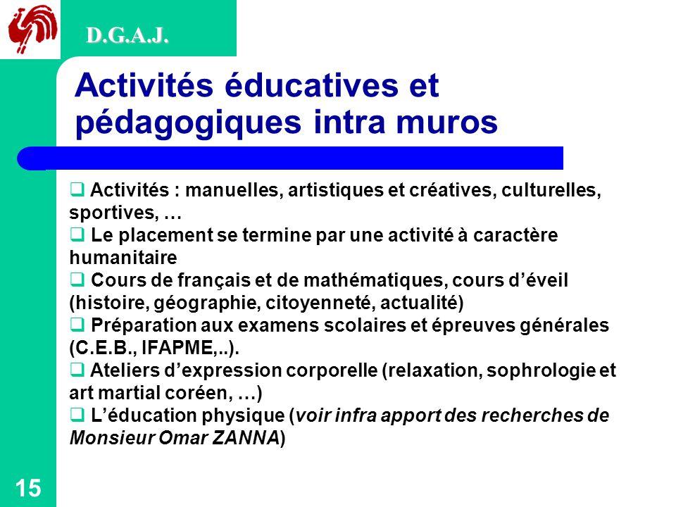 15 Activités éducatives et pédagogiques intra muros D.G.A.J.