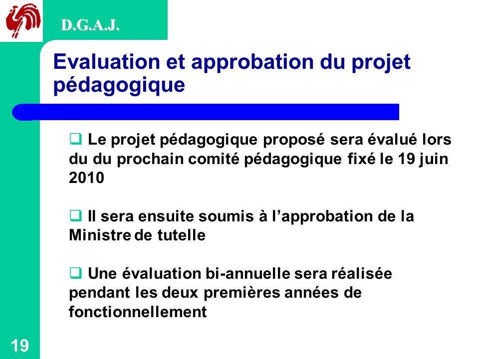 19 Evaluation et approbation du projet pédagogique D.G.A.J.