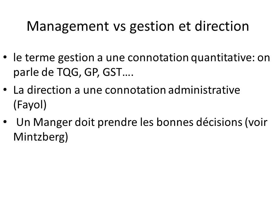 Management vs gestion et direction le terme gestion a une connotation quantitative: on parle de TQG, GP, GST…. La direction a une connotation administ